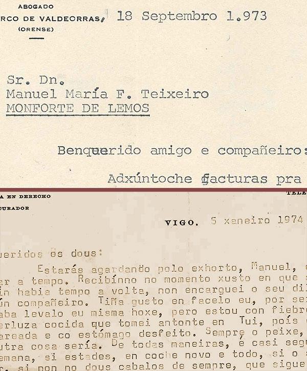 Fragmentos de cartas profesionais de Manuel María como procurador