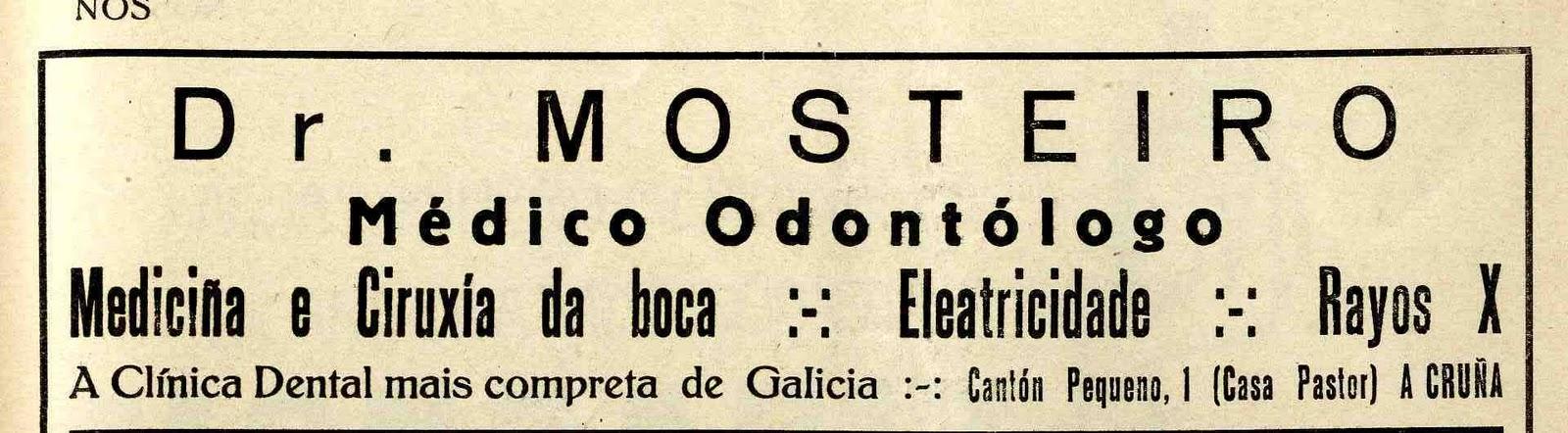 Anuncio da clínica do doutor Mosteiro na revista Nós