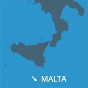 Situación de Malta nunha vista do Mediterráneo