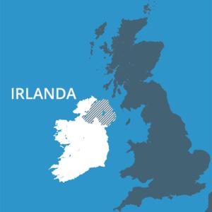 Irlanda nunha vista das Illas Británicas. A zona raiada representa os seis condados pertencentes ao Reino Unido